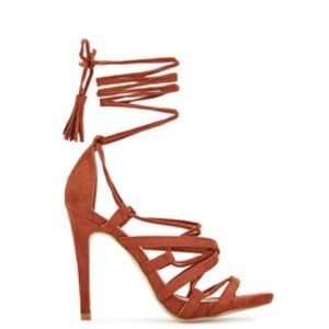 Burnt Orange Lace Up Sandal with 5 inch Heel